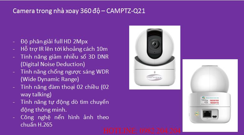Tính năng thông số loại Camera trong nhà xoay 360 độ Home Camera Viettel CAMPTZ-Q21