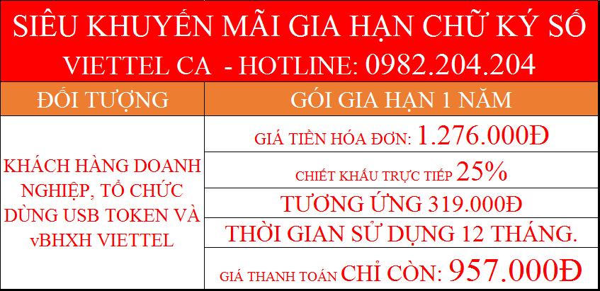 Gia hạn chữ ký số Viettel online gói 1 năm công ty dùng Token USB giá thanh toán chỉ 957.000Đ