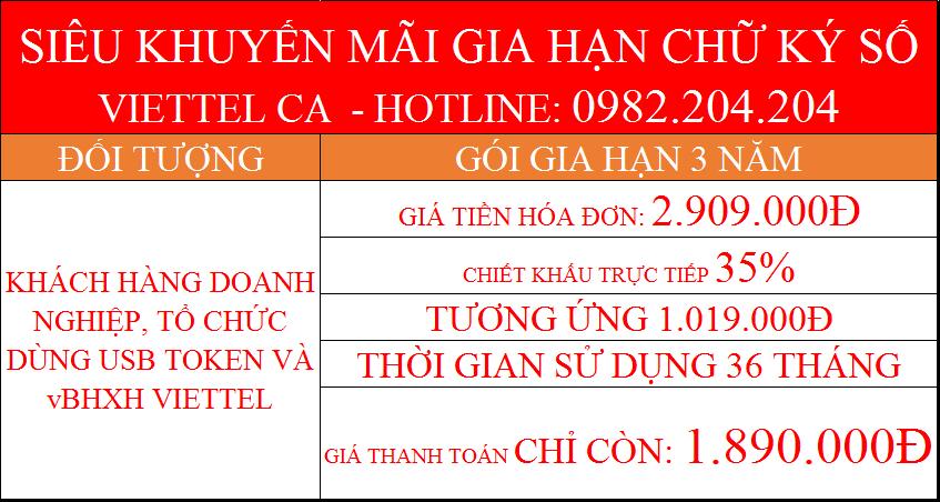 Gia hạn chữ ký số Viettel online gói 3 năm công ty dùng Token giá chỉ còn 1.890.000Đ