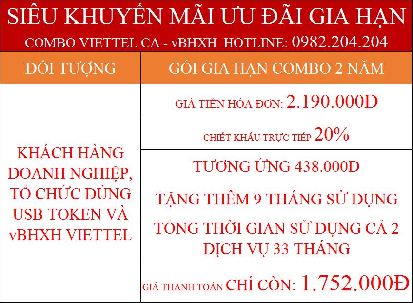 Gia hạn chữ ký số Viettel trực tuyến combo 2 năm kèm vBHXH giá chỉ 1.752.000Đ