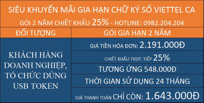Gia hạn chữ ký số giá rẻ HCM Viettel gói 2 năm