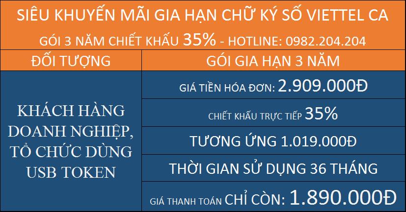 Gia hạn chữ ký số giá rẻ HCM Viettel gói 3 năm