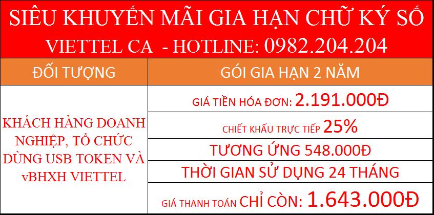 Gia hạn token Viettel online gói 2 năm doanh nghiệp dùng Token USB giá thanh toán chỉ 1.643.000Đ