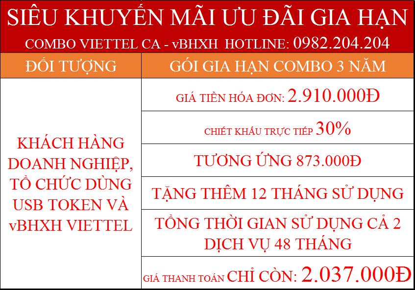 Gia hạn token Viettel trực tuyến combo 3 năm kèm vBHXH giá chỉ 2.037.000Đ