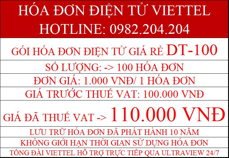 Gói hóa đơn điện tử Viettel 2021 DT-100