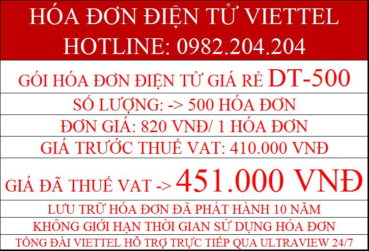 Gói hóa đơn điện tử Viettel 2021 DT-500