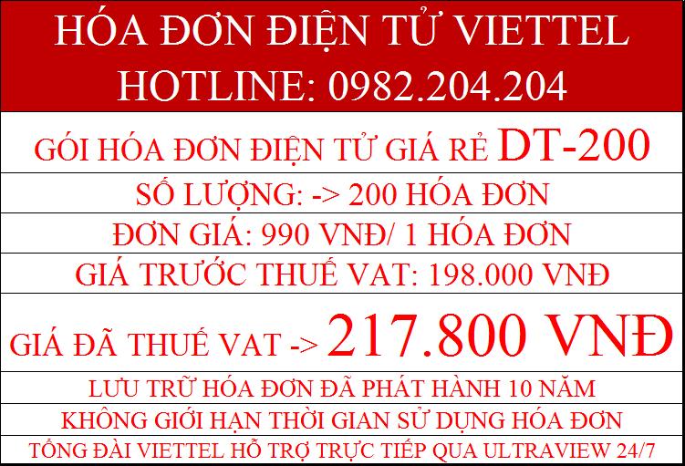 Gói hóa đơn điện tử Viettel DT-200