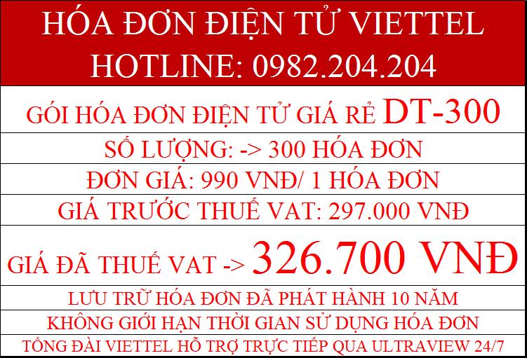 Gói hóa đơn điện tử Viettel DT-300