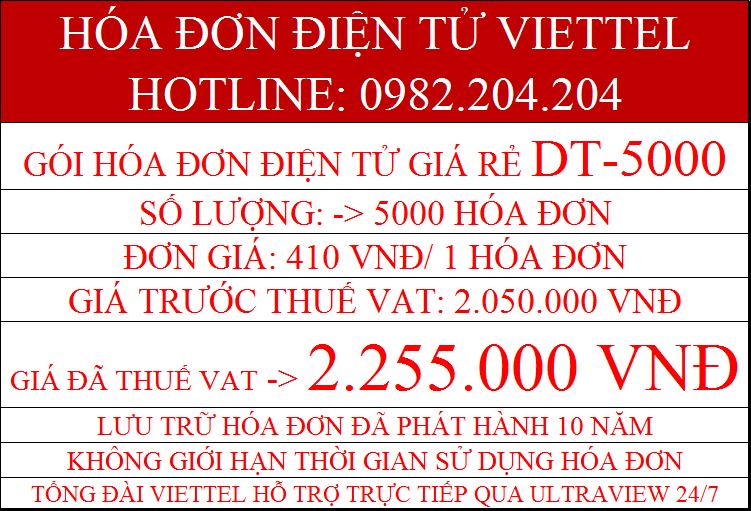 hóa đơn điện tử Viettel 2021 DT-5000