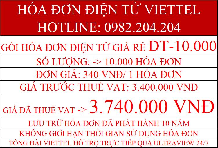 hóa đơn điện tử Viettel DT-10000