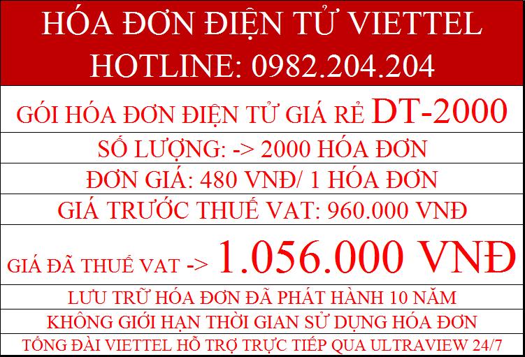 hóa đơn điện tử Viettel DT-2000