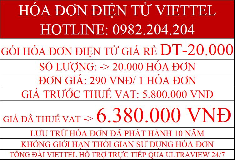 hóa đơn điện tử Viettel DT-20000