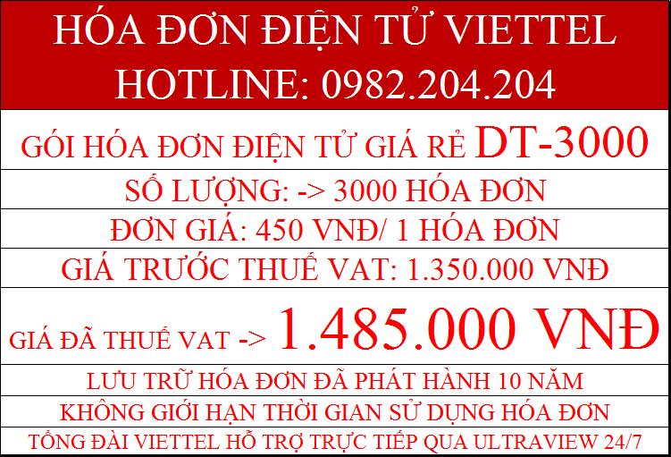 hóa đơn điện tử Viettel DT-3000