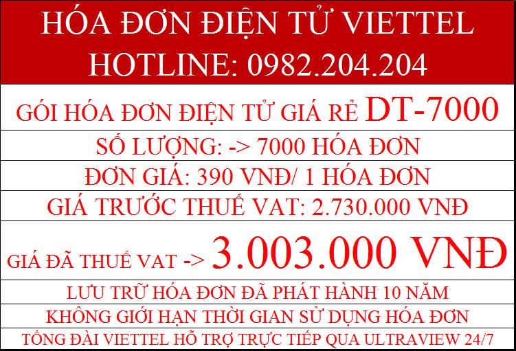 hóa đơn điện tử Viettel DT-7000