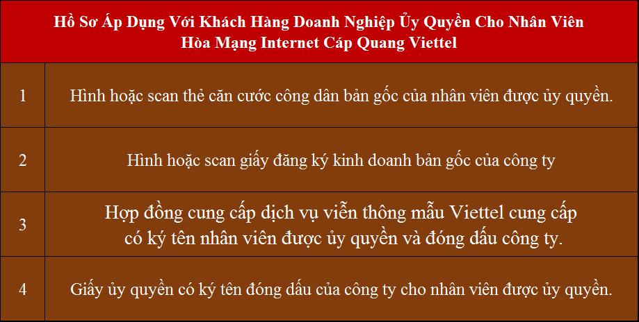 Lắp cáp quang Viettel Tân Trụ Long An hồ sơ áp dụng cho công ty ủy quyền