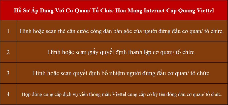 Lắp internet Viettel Long An Thạnh Hóa hồ sơ áp dụng cho cơ quan