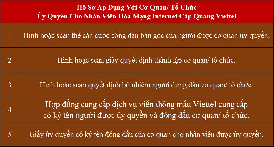 Lắp mạng Viettel Vĩnh Hưng hồ sơ áp dụng cho cơ quan ủy quyền