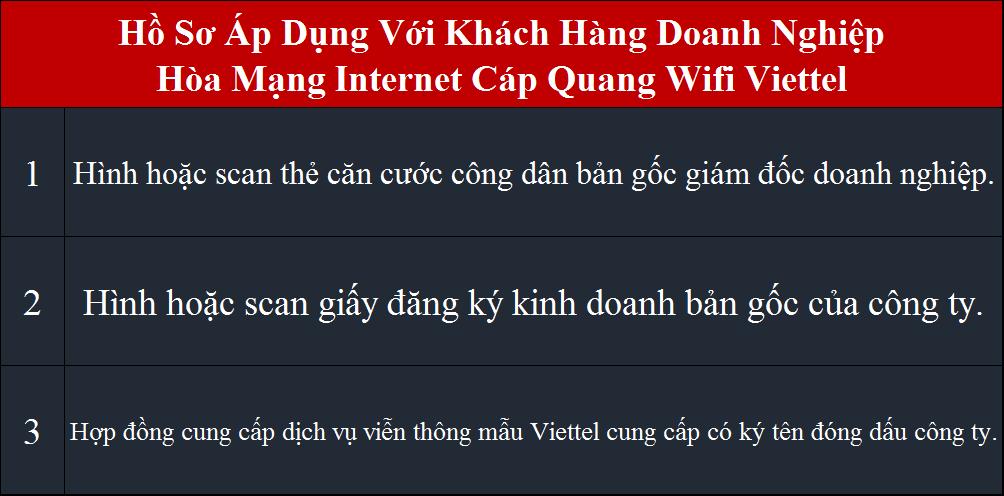 Tổng đài đăng ký internet Viettel hồ sơ áp dụng cho công ty