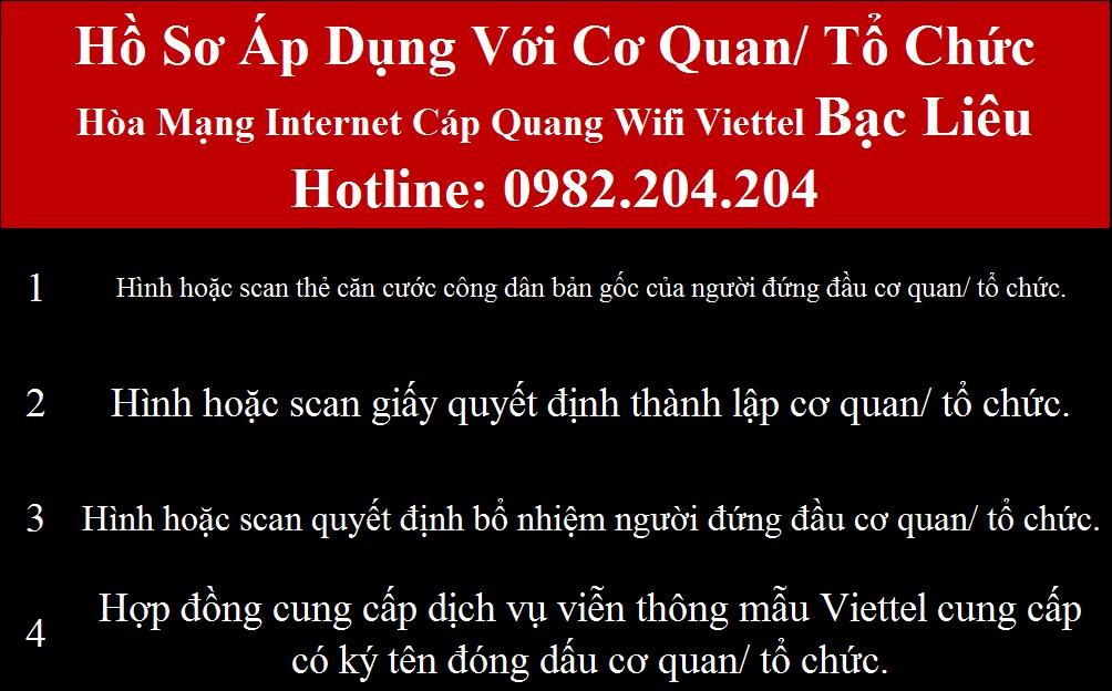 Đăng ký internet Viettel Bạc Liêu