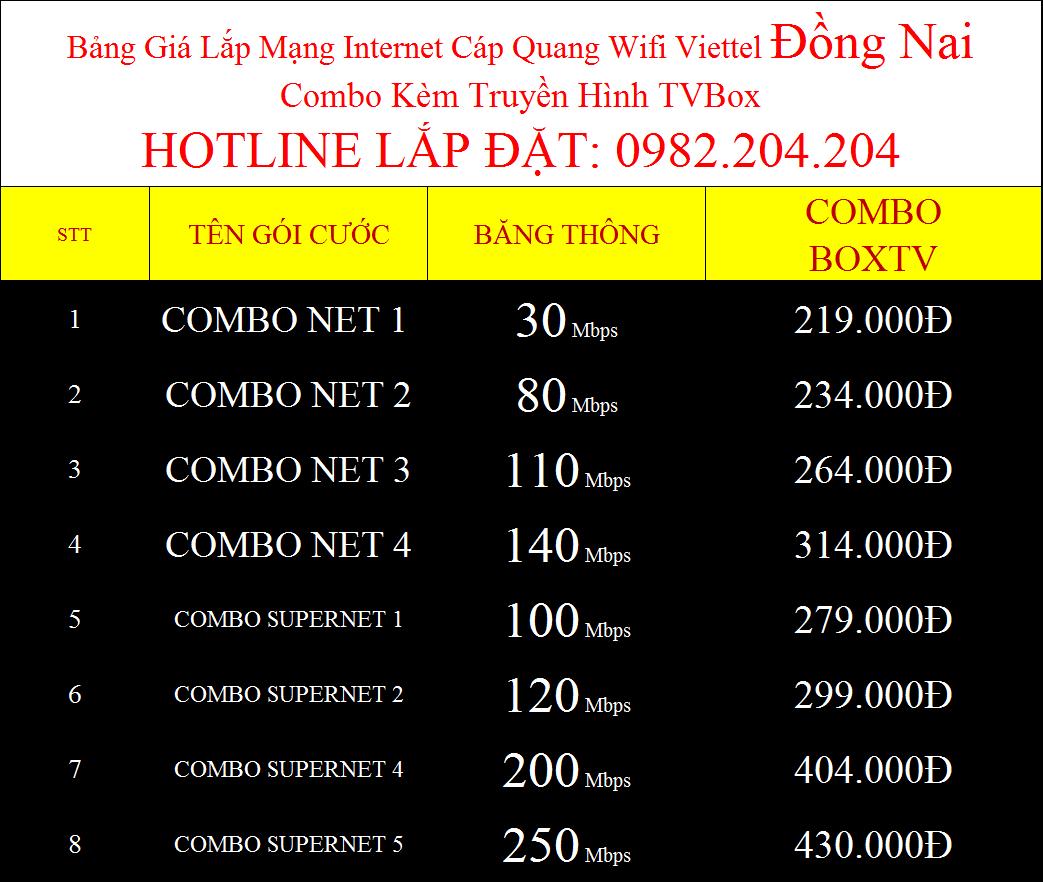 Gói cước wifi Viettel Đồng Nai