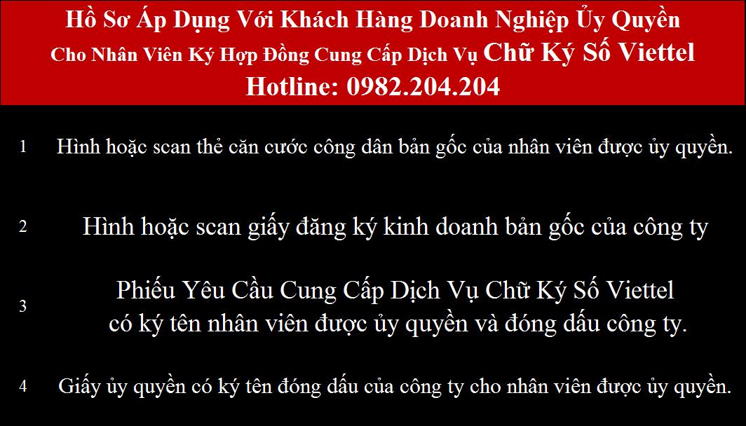 Hồ sơ đăng ký chữ ký số Viettel Đà Nẵng ủy quyền