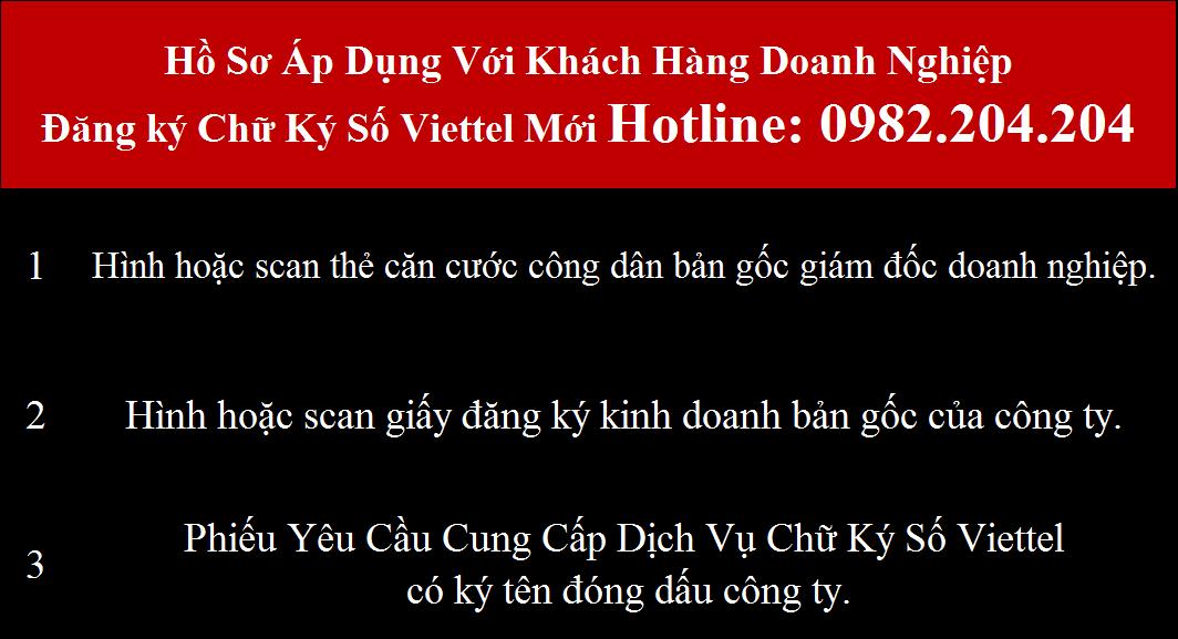 Hồ sơ đăng ký chữ ký số Viettel Đà Nẵng