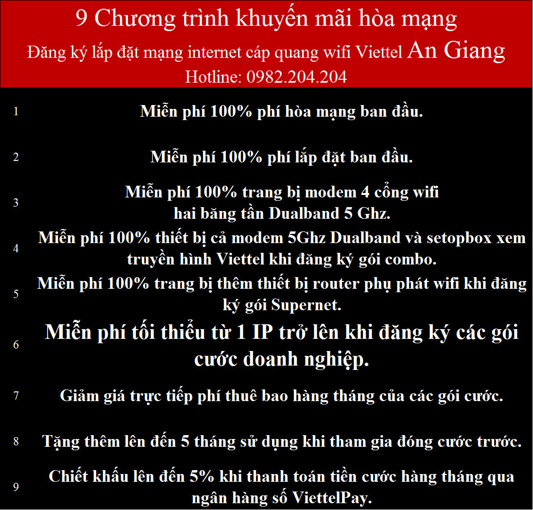 Khuyến Mãi Lắp Mạng Internet Cáp Quang Wifi Viettel An Giang 2021