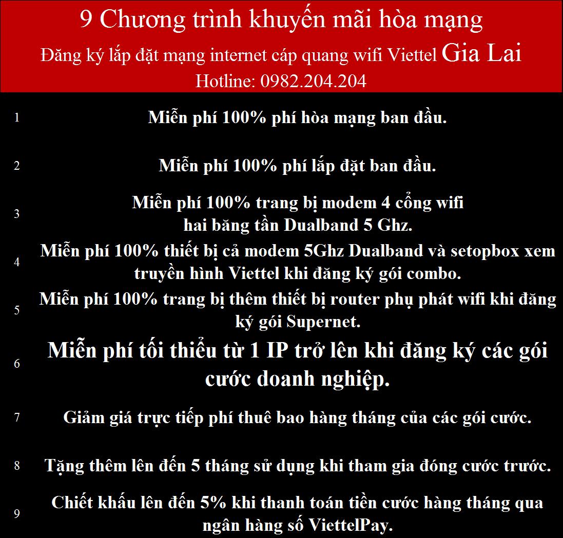 Khuyến Mãi Lắp Mạng Internet Cáp Quang Wifi Viettel Gia Lai