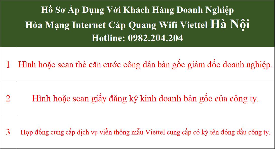 Bảng giá internet Viettel Hà Nội
