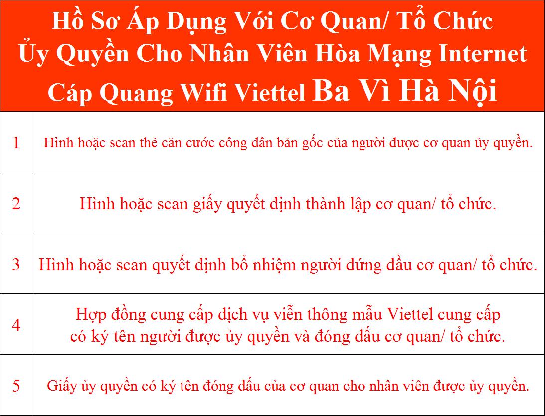 Đăng ký internet Viettel Ba Vì Hà Nội