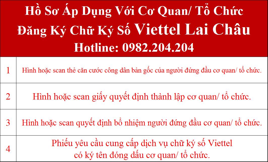 Hồ sơ chữ ký số Viettel Lai Châu cho cơ quan