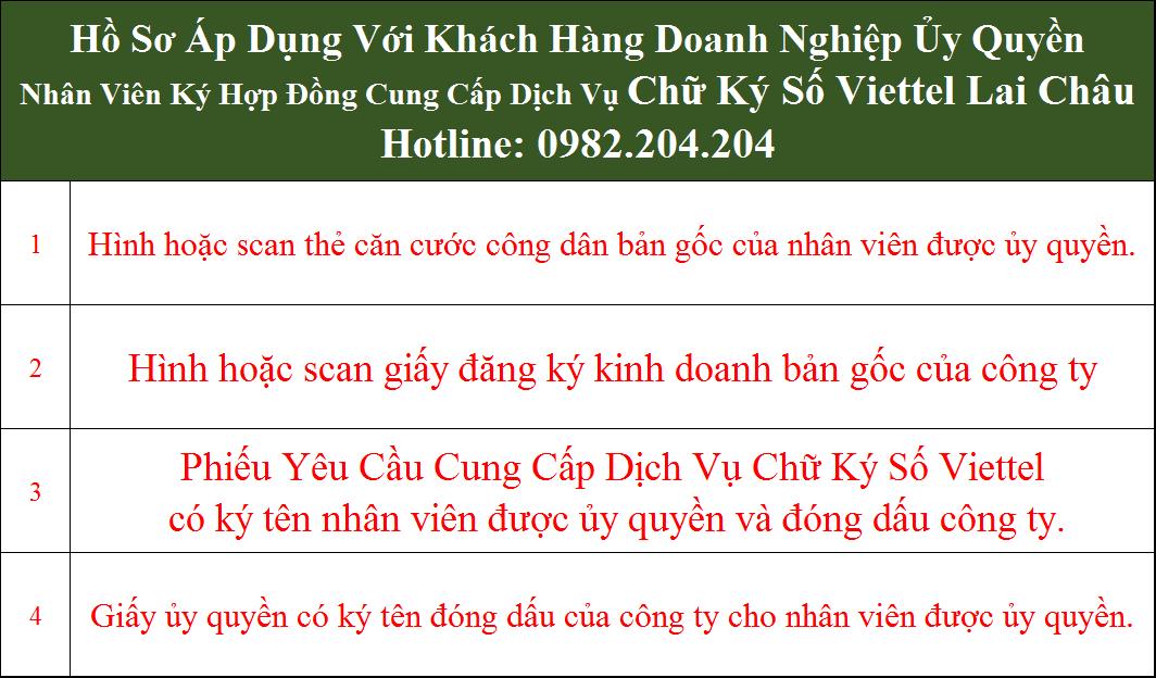 Hồ sơ chữ ký số Viettel Lai Châu cho doanh nghiệp ủy quyền