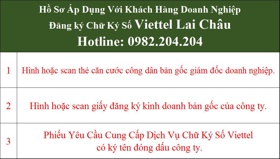 Hồ sơ chữ ký số Viettel Lai Châu cho doanh nghiệp