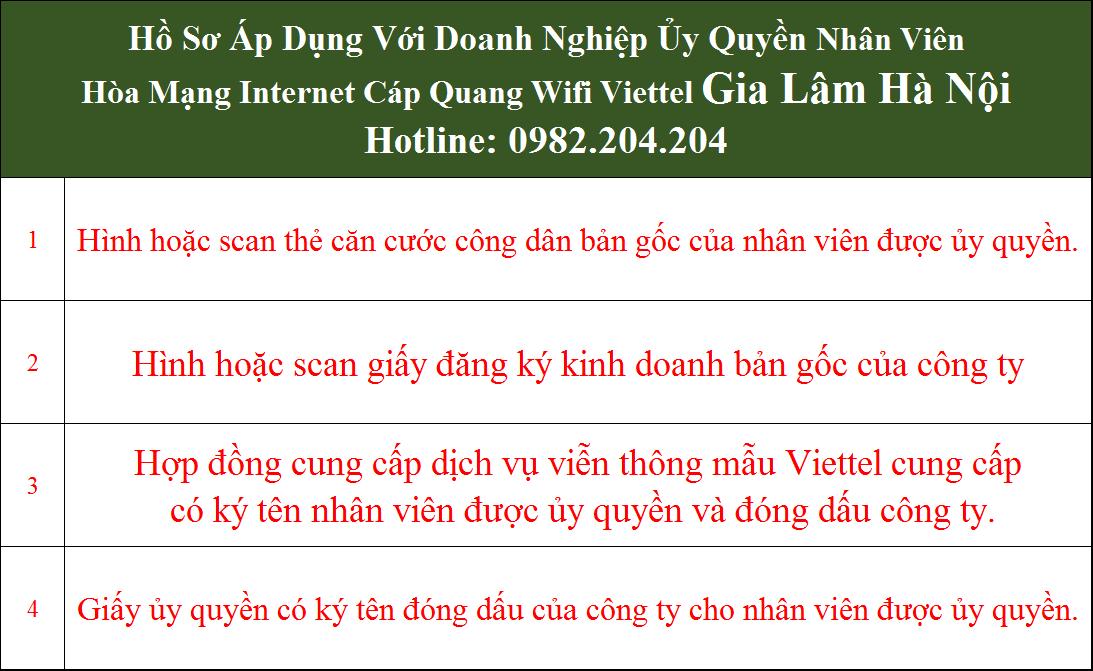 Hồ sơ đăng ký lắp cáp quang Viettel Gia Lâm Hà Nội doanh nghiệp ủy quyền