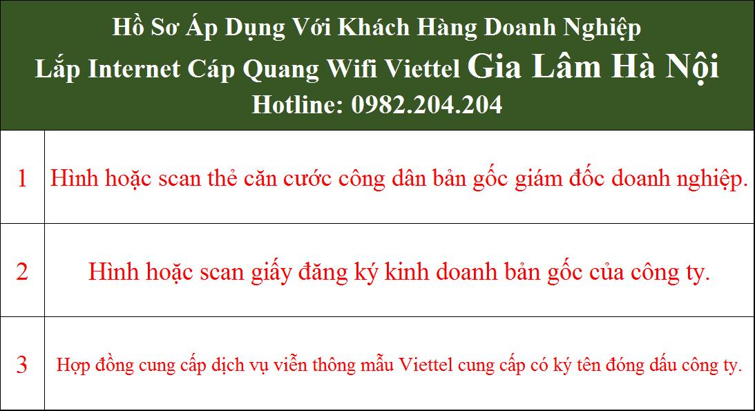 Hồ sơ đăng ký lắp cáp quang Viettel Gia Lâm Hà Nội