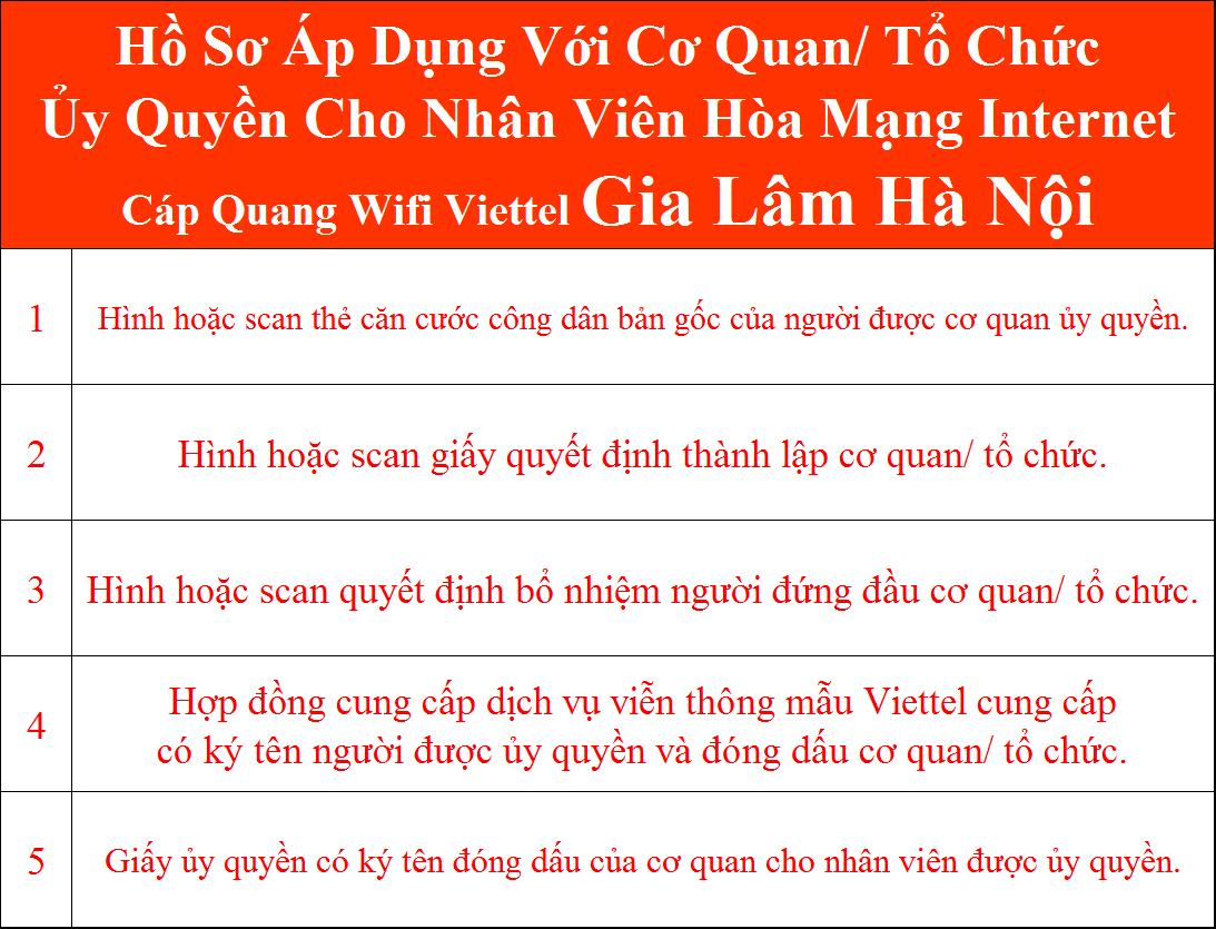 Hồ sơ đăng ký lắp wifi Viettel Gia Lâm Hà Nội cơ quan ủy quyền