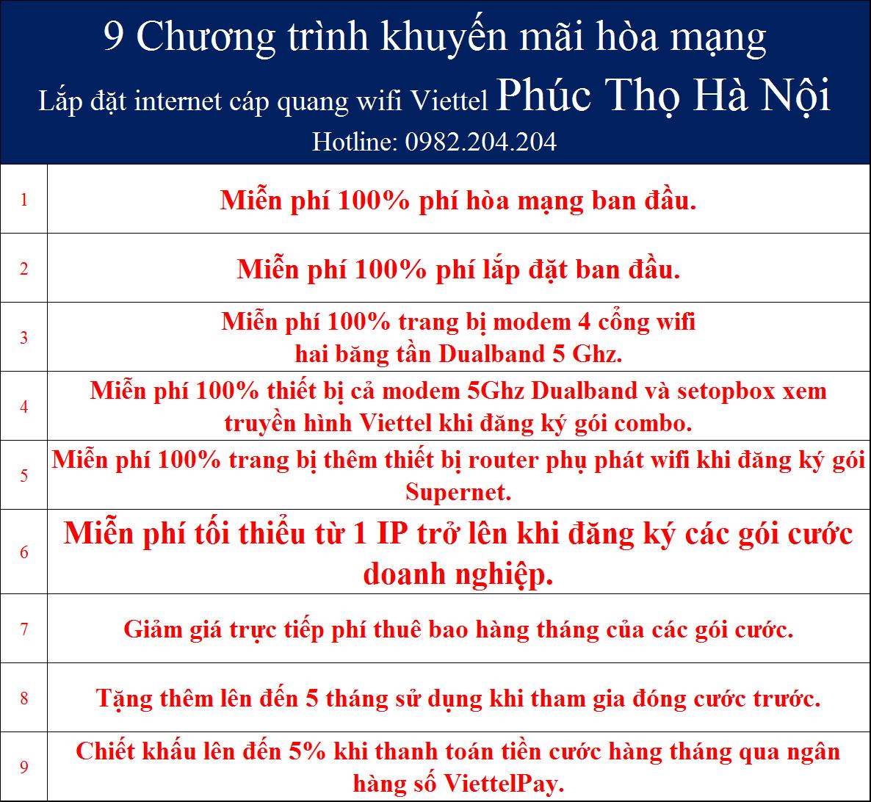 Khuyến mãi internet Viettel Phúc Thọ Hà Nội