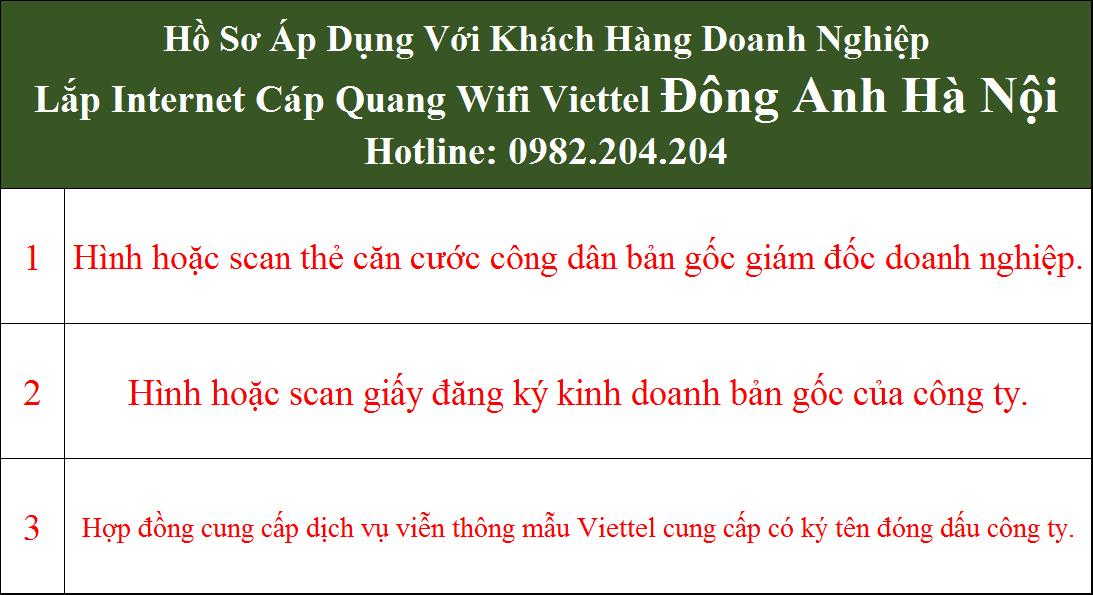 Lắp cáp quang Viettel Đông Anh Hà Nội